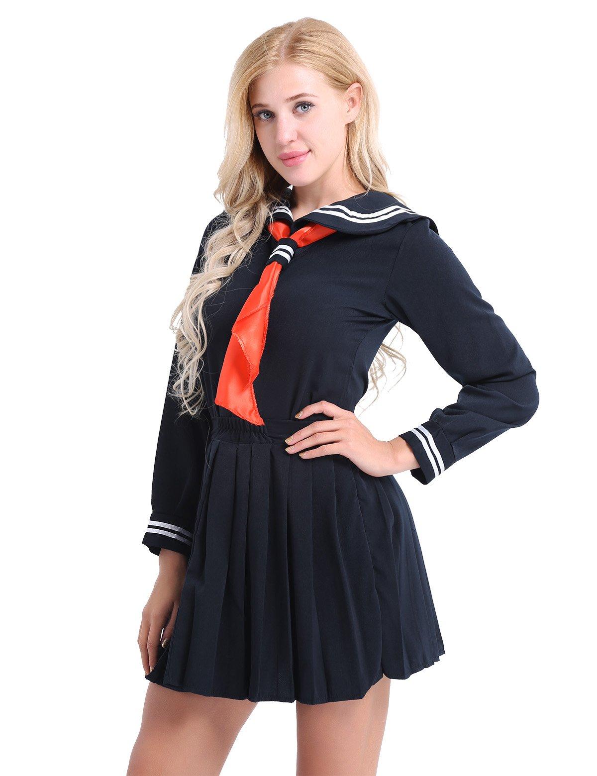 iiniim Womens Sailor School Uniform Dress Japanese Anime Lolita Sailor Suit Dark Navy S