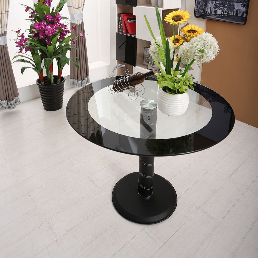Hawastar Marble Base Iron Fram Round Tempered Clear Glass Top Dining Table Kitchen Furniture Black Dining Room