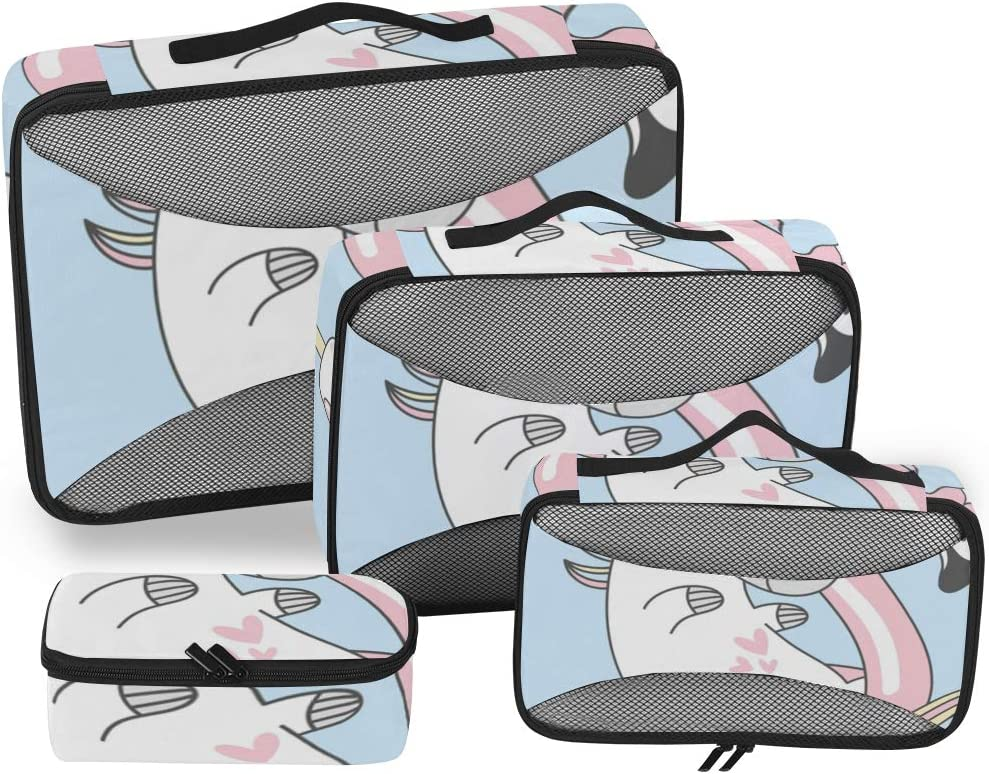 4 Set Packing Cubes Travel Luggage Packing Organizers Pattern With Cute Unicorns