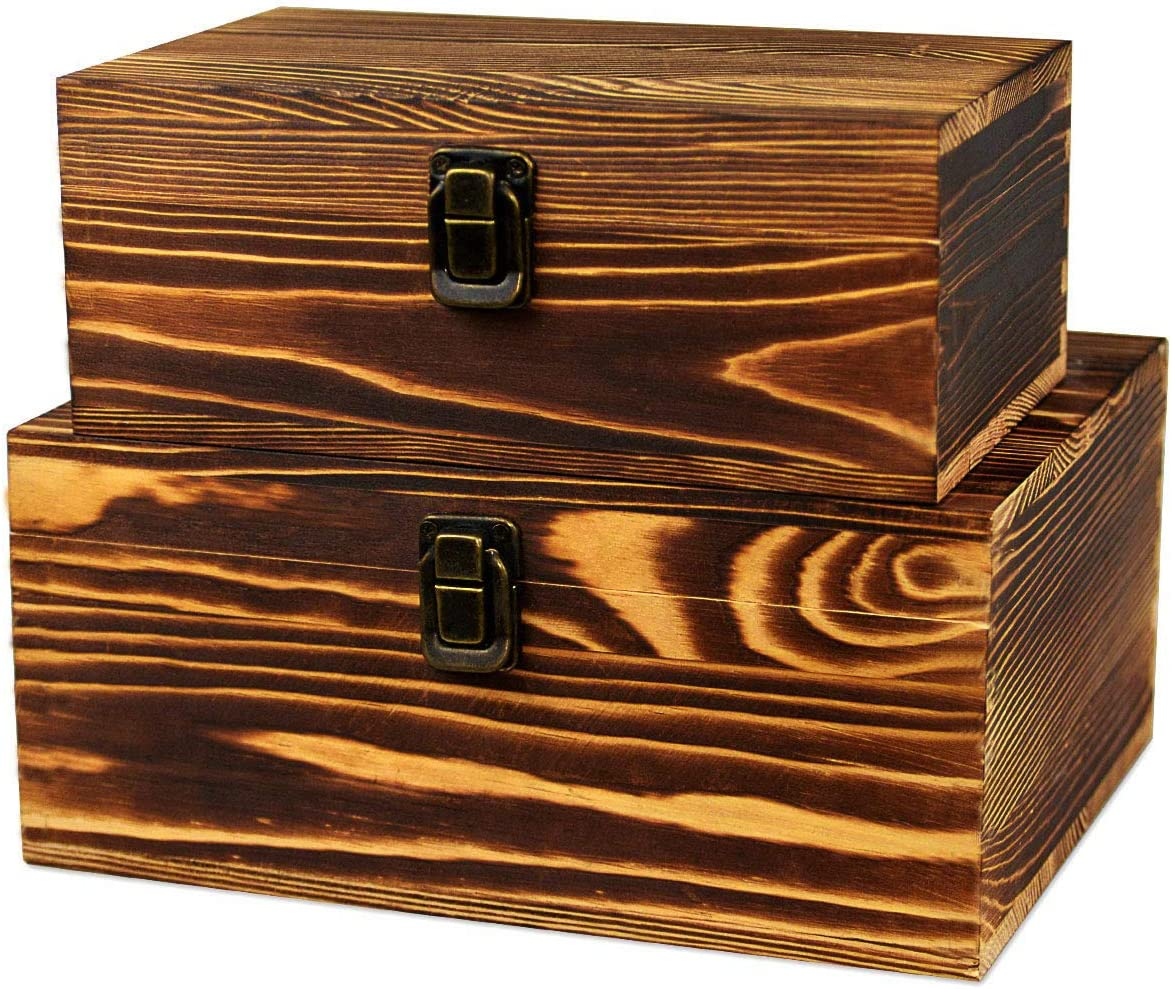 2 Pack Real Wood Box Treasure Chest Memory Hobby Preservation Rustic Decorative Archival Organizer with Latch Lock for Jewelry Keepsake Gadget Trinkets Letter Sewing Cash Tea Photo Wooden Storage Box