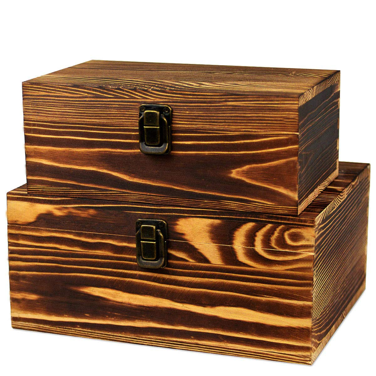 2 Pack Real Wood Box Treasure Chest Memory Hobby Preservation Rustic Decorative Archival Organizer with Latch Lock for Jewelry Keepsake Gadget Trinkets Letter Sewing Cash Tea Photo Wooden Storage Box by BigHala