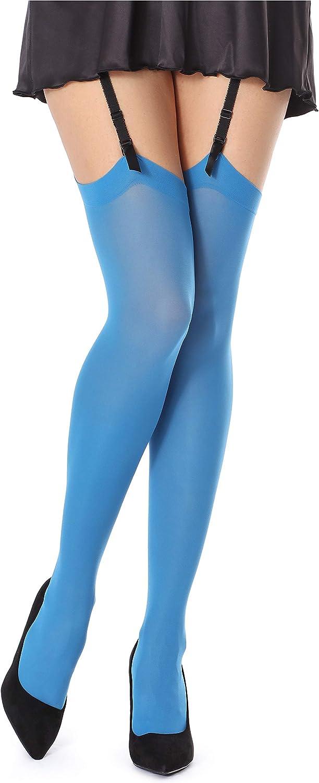 Pariser Blau, 5//6-XL//XXL Bellivalini Damen Strapsstr/ümpfe Mikrofaser 40 DEN BLVFI1006