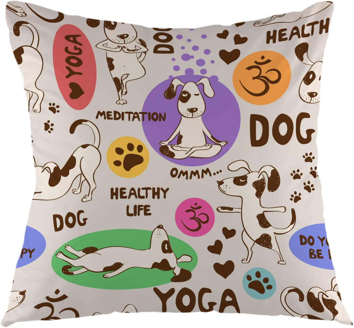 """oFloral Cartoon Dog Decorative Throw Pillow Cover Doing Yoga Position Pillow Case Square Cushion Cover for Sofa Couch Home Car Bedroom Living Room Decor 18"""" x 18"""" Brown Purple"""