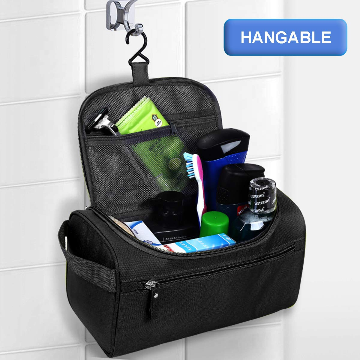 Wash Bag Mens,AOBETAK Large Hanging Waterproof Toiletry Bag with Mesh and  Zip Compartment,Overnight Gym Shaving Travel ... eaf1d4cc8d