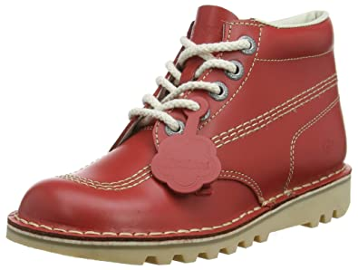 349babec Kickers Womens Kick Hi Core Red Natural NAT Leather Lace Up Ankle Boots  Size 4