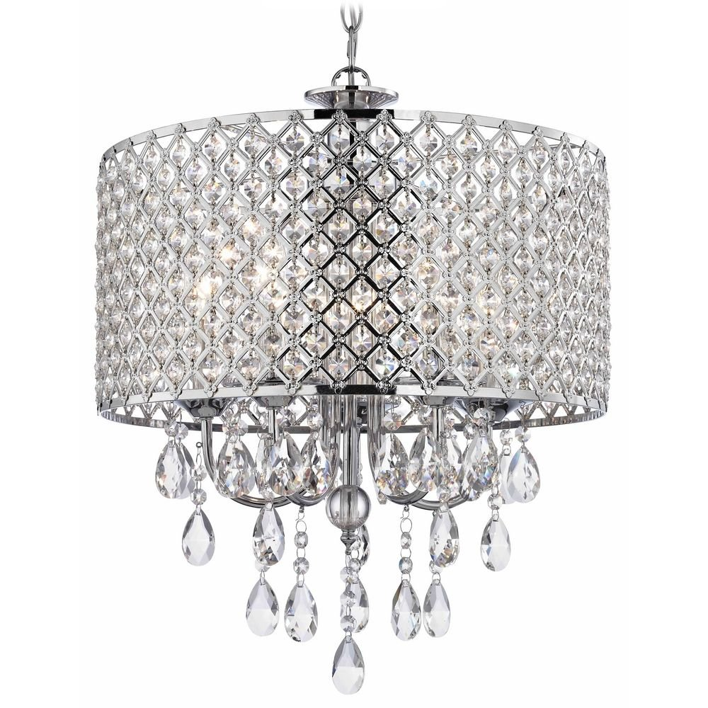 Crystal chrome chandelier pendant light with crystal beaded drum crystal chrome chandelier pendant light with crystal beaded drum shade ceiling pendant fixtures amazon mozeypictures Gallery