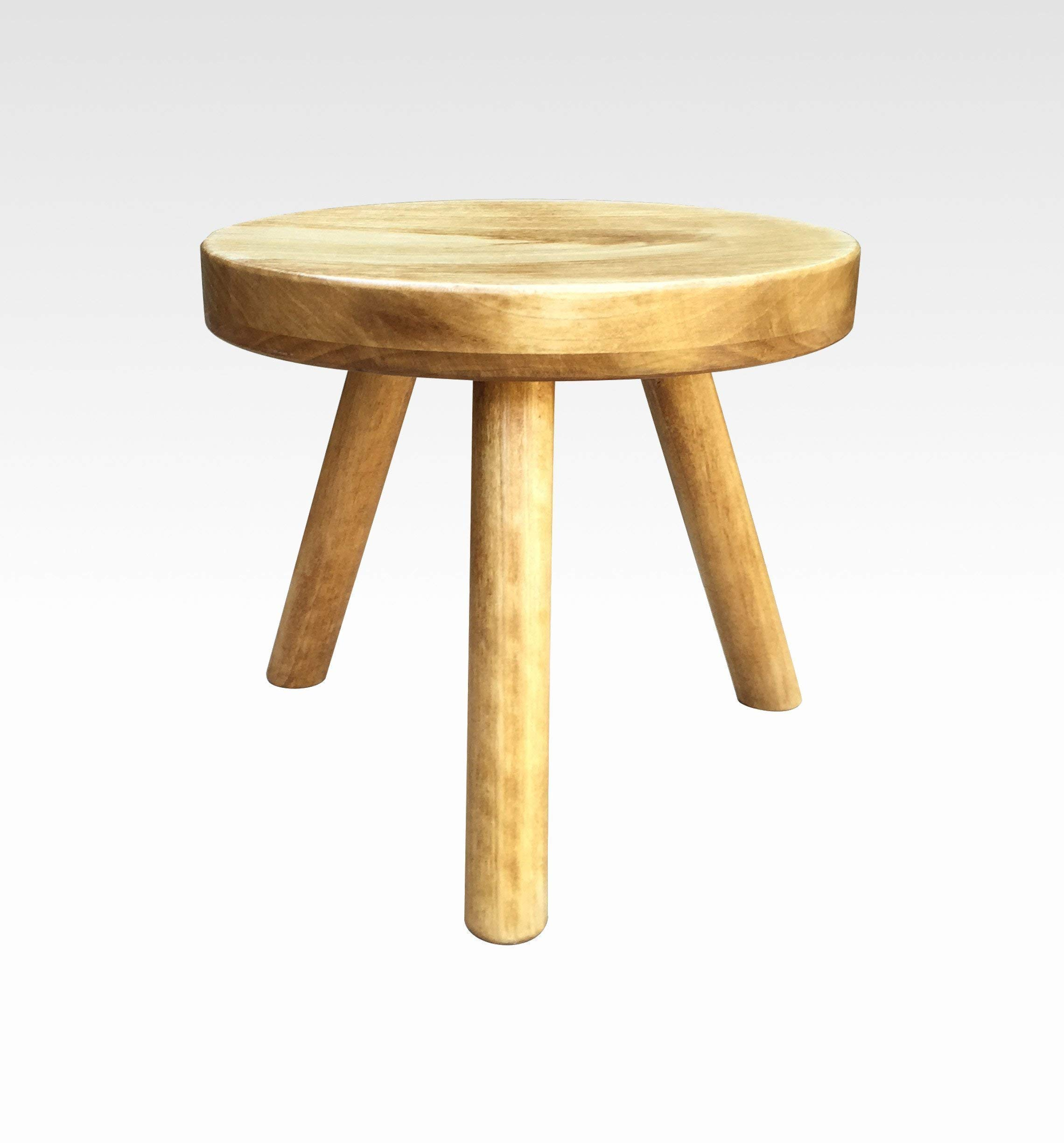 Modern Plant Stand Three Leg Stool by CW Furniture in Honey Indoor Flower Pot Base Display Holder Solid Wooden Kids Chair Table Simple Minimalist Small by Candlewood Furniture