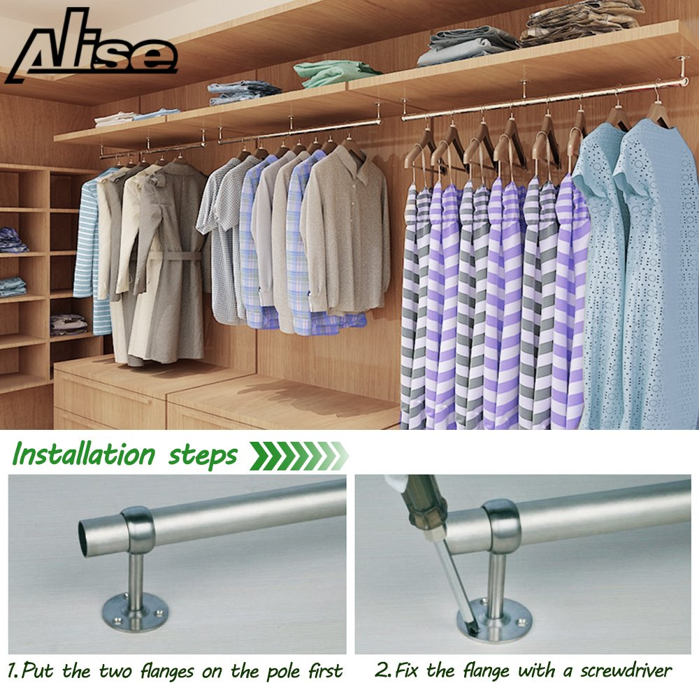 Alise 1-Inch Dia Shower Curtain Closet Rod Holder Pipe Flange Socket Ceiling Mount Bracket Pipe Fitting Parts Supports,2 Pcs SUS304 Stainless Steel Matte Black Dont Include Rods