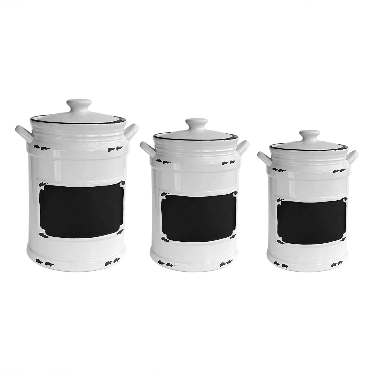 amazon com american atelier vintage 3 piece canister set black amazon com american atelier vintage 3 piece canister set black home kitchen