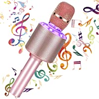 Micrófono Karaoke Bluetooth, 4 en1 Microfono Inalámbrico Karaoke Micrófono Portátil con Luces LED, para Niños y Partido…