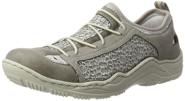 Rieker L0571, Zapatillas para Mujer 41 EU|Gris (Staub/Staub-silber/Silverflower/Staub)