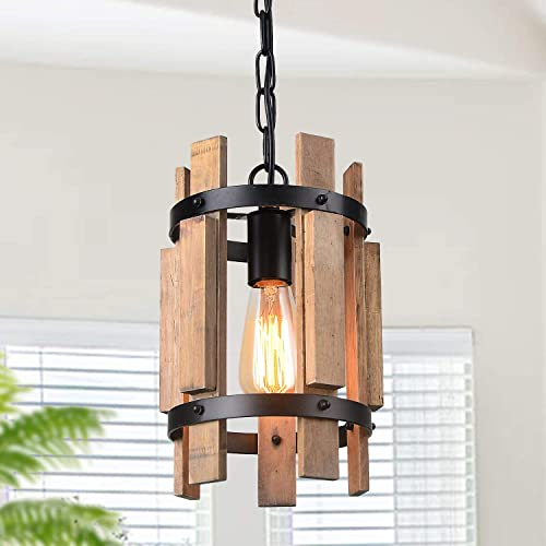 Giluta Wood Pendant Light Cylinder Chandelier Lamp Rustic Farmhouse Hanging Pendant Light Vintage Ceiling Light Fixture 1 Light