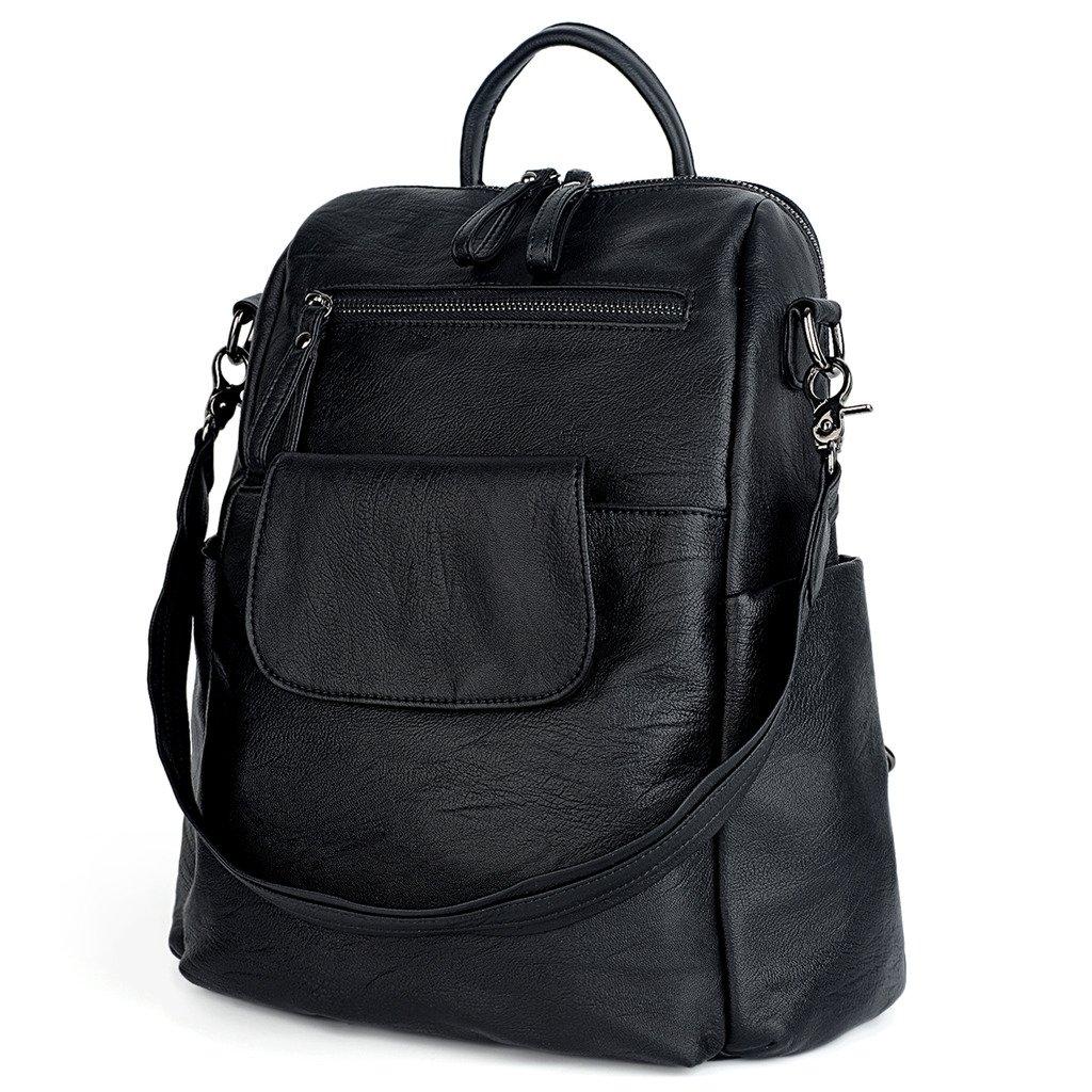 c7d213ad9240 Amazon.com  UTO Women Backpack Purse PU Washed Leather Ladies Rucksack  Shoulder Bag