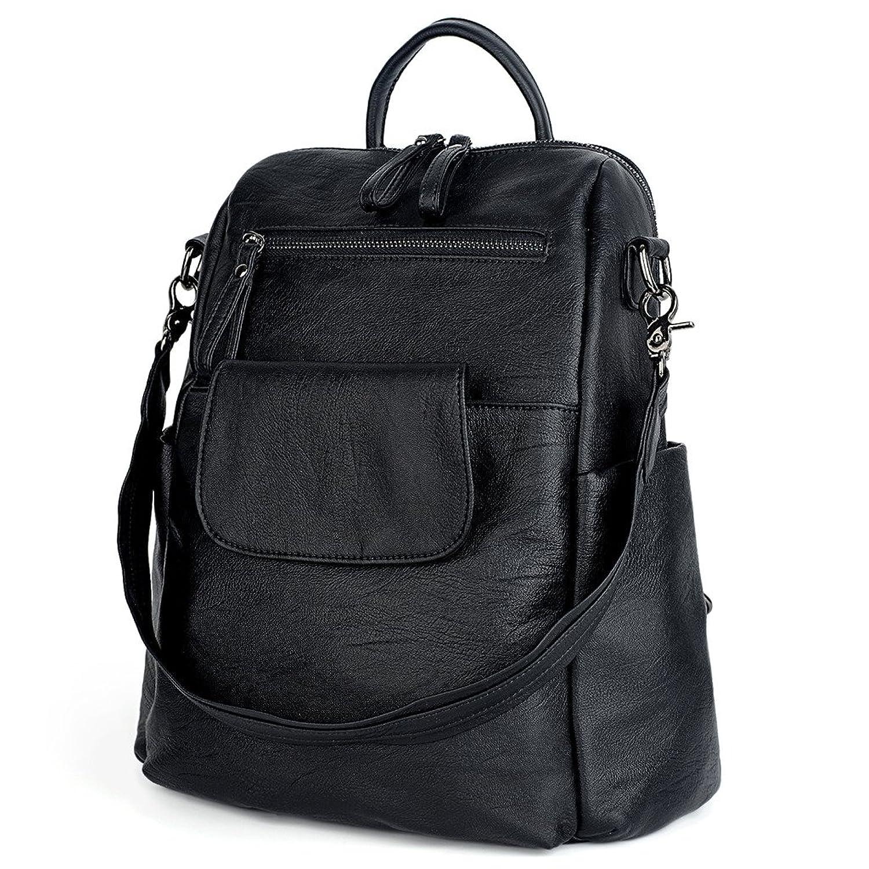 UTO Women Backpack Purse PU Washed Leather Ladies Rucksack Shoulder Bag Black