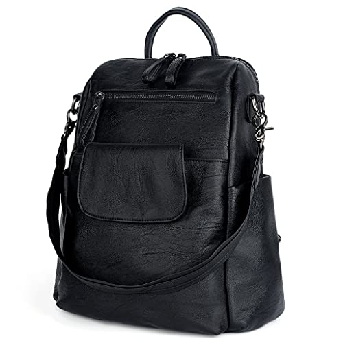 b6cfadda1b00 Amazon.com: UTO Women Backpack Purse PU Washed Leather Ladies ...