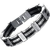"""Ostan - """"Knight"""" 316L acciaio inossidabile e pelle gotico bracciale da uomo, argento e nero, 210mm - nuovo gioielli moda"""