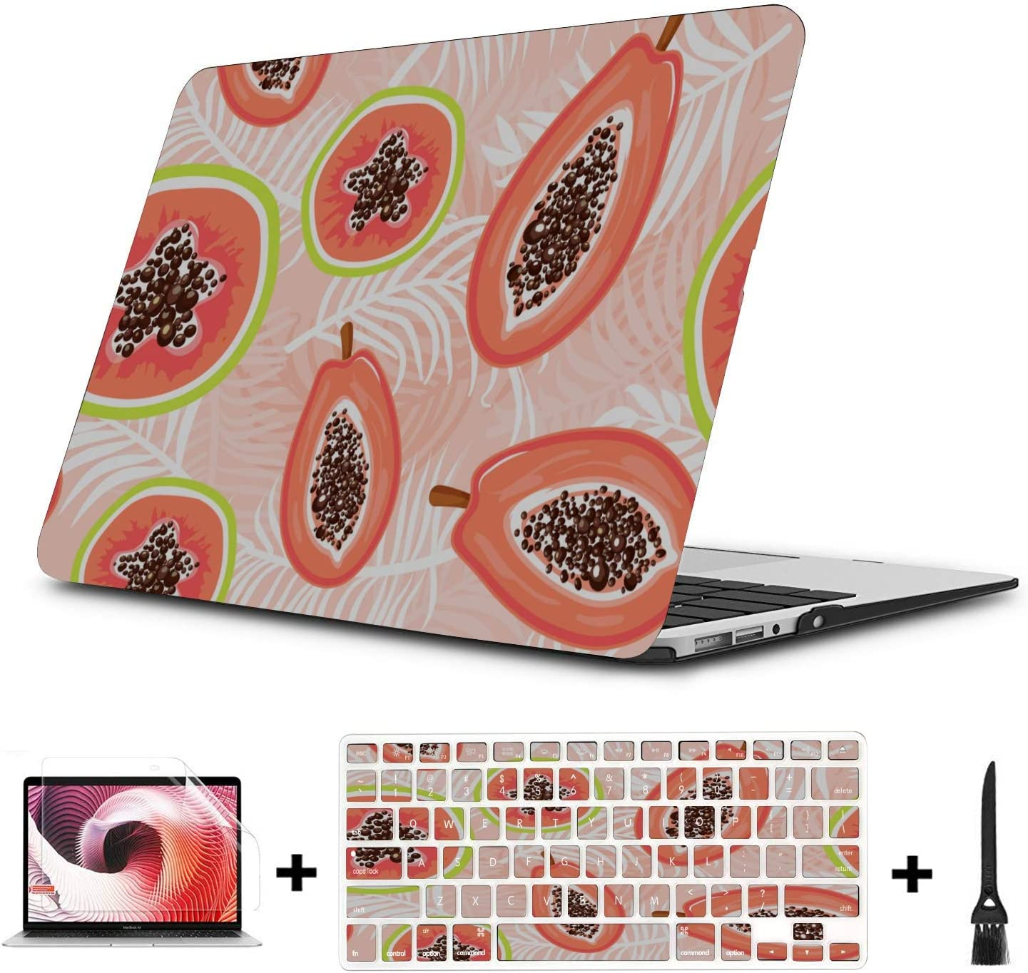 Hard Laptop Cases Summmer Cute Fashion Fruit Papaya Plastic Hard Shell Compatible Mac Air 11 Pro 13 15 MacBook Computer Case Protection for MacBook 2016-2019 Version