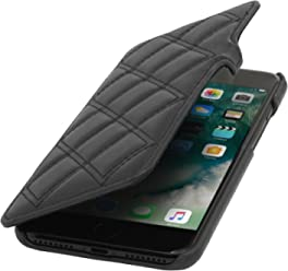 "StilGut Book Type Case con Clip, Custodia in Pelle Cover per iPhone 7 Plus & iPhone 8 Plus (5,5"") Chiusura a Libro Flip-Case in Vera Pelle, Nero Nappa, Carato"