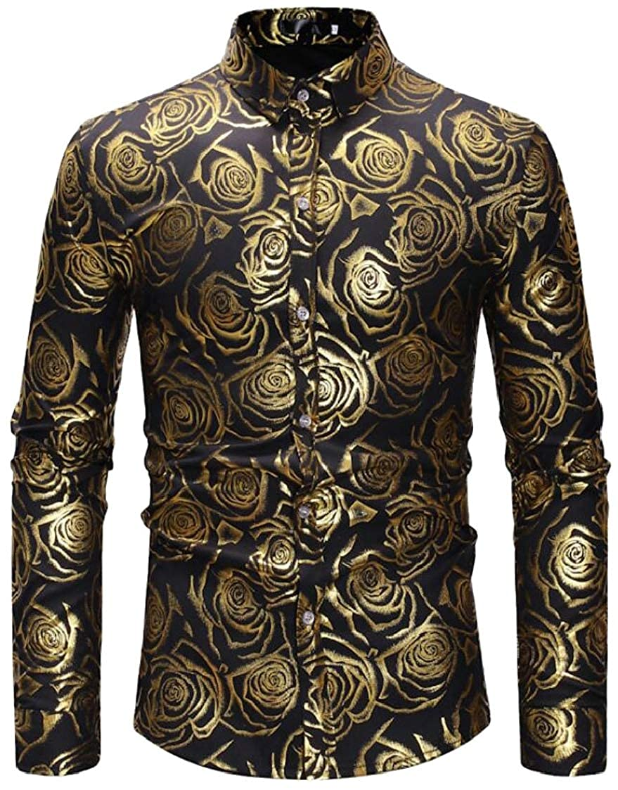 Fubotevic Men Floral Print Fashion Casual Long Sleeve Slim Fit Button Down Blouse Shirt Tops