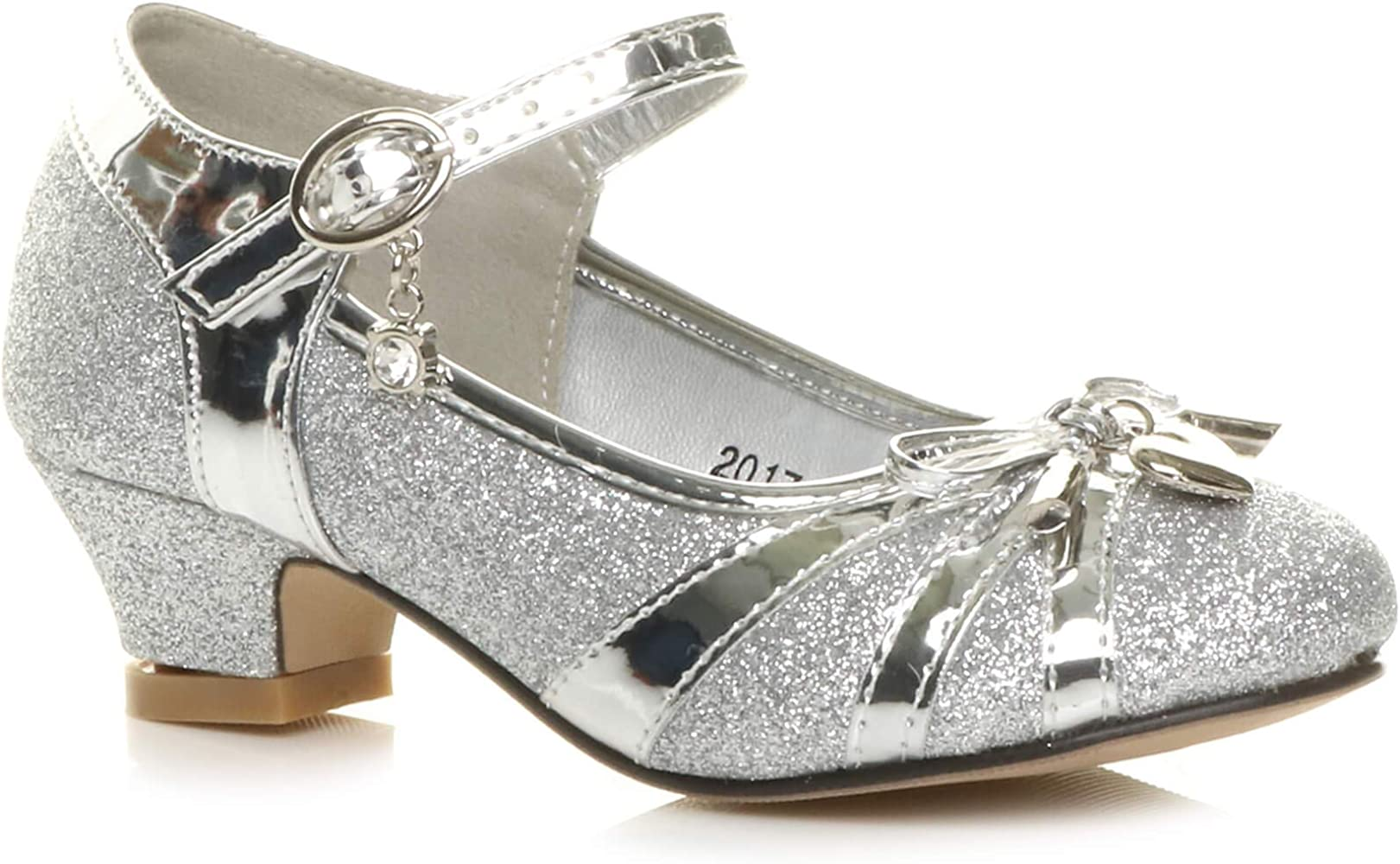 New girl/'s kids buckle closure mary jane bow wedding flower girl Silver formal