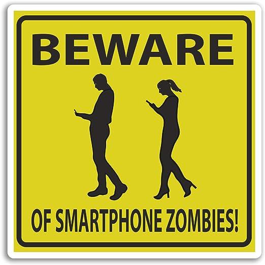 2 x 10 cm Cuidado de smartphones zombis pegatinas de vinilo ...