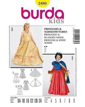 Burda 2480 Schnittmuster Kostüm Fasching Karneval für Prinzessin ...