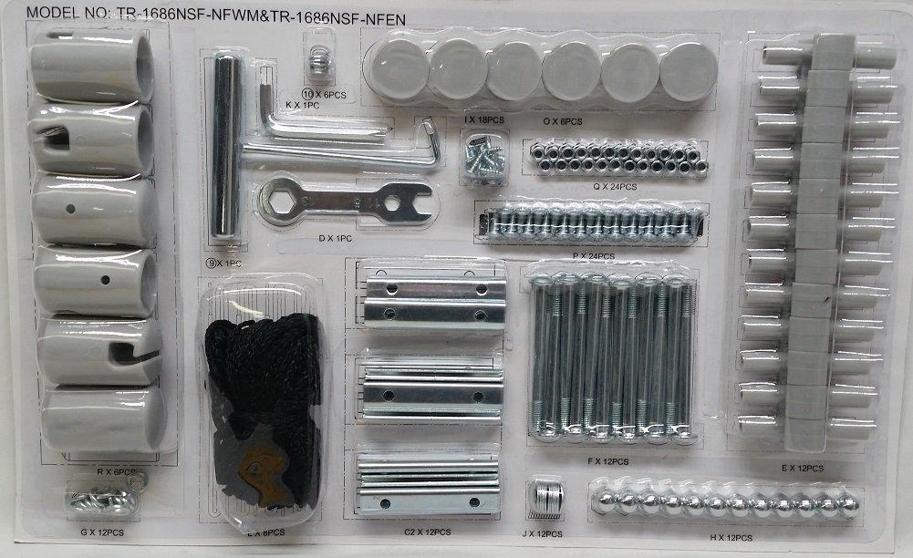 BouncePro Enclosed Hardware Kit for 14' Trampoline & Steelflex Pro, Grey