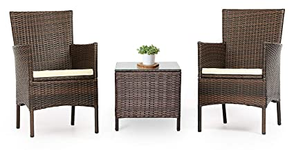 Wondrous Lahaina Patio Furniture Set 3 Piece Outdoor Wicker Bistro Set Rattan Chair Conversation Sets With Coffee Table Brown Onthecornerstone Fun Painted Chair Ideas Images Onthecornerstoneorg