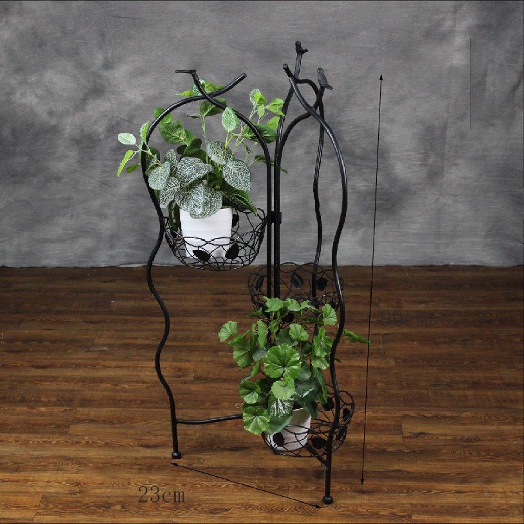 Soporte de flor de de de hierro simple plegable europeo Piso de macetas de varios pisos Balcón de interior Estante de Bonsai de rábano verde ( Color   Negro ) 7c2f4e