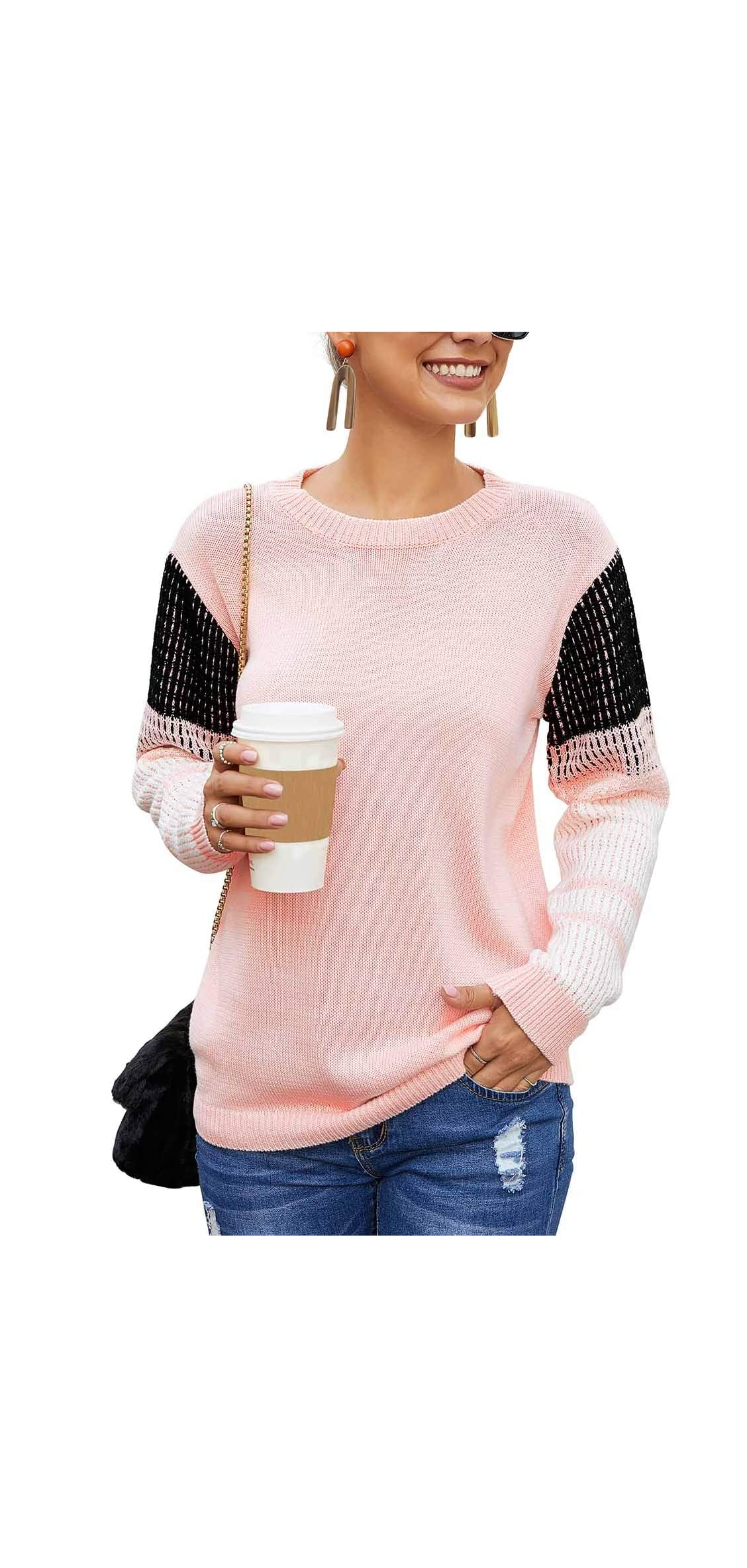 Women's Cute Contrast Sleeve Knitted Pullover Sweater