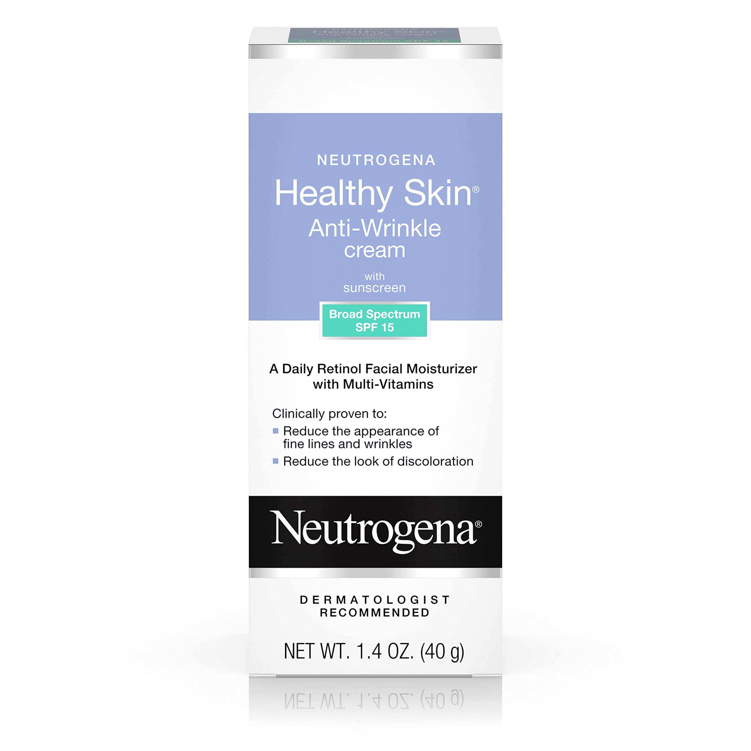 Neutrogena Healthy Skin Anti Wrinkle Retinol & Vitamin E Face & Neck Cream Moisturizer with SPF 15 Sunscreen, Oil-Free - Retinol, Green Tea, Glycerin, Vitamin E, Vitamin A & Vitamin B5, 1.4 oz by Neutrogena