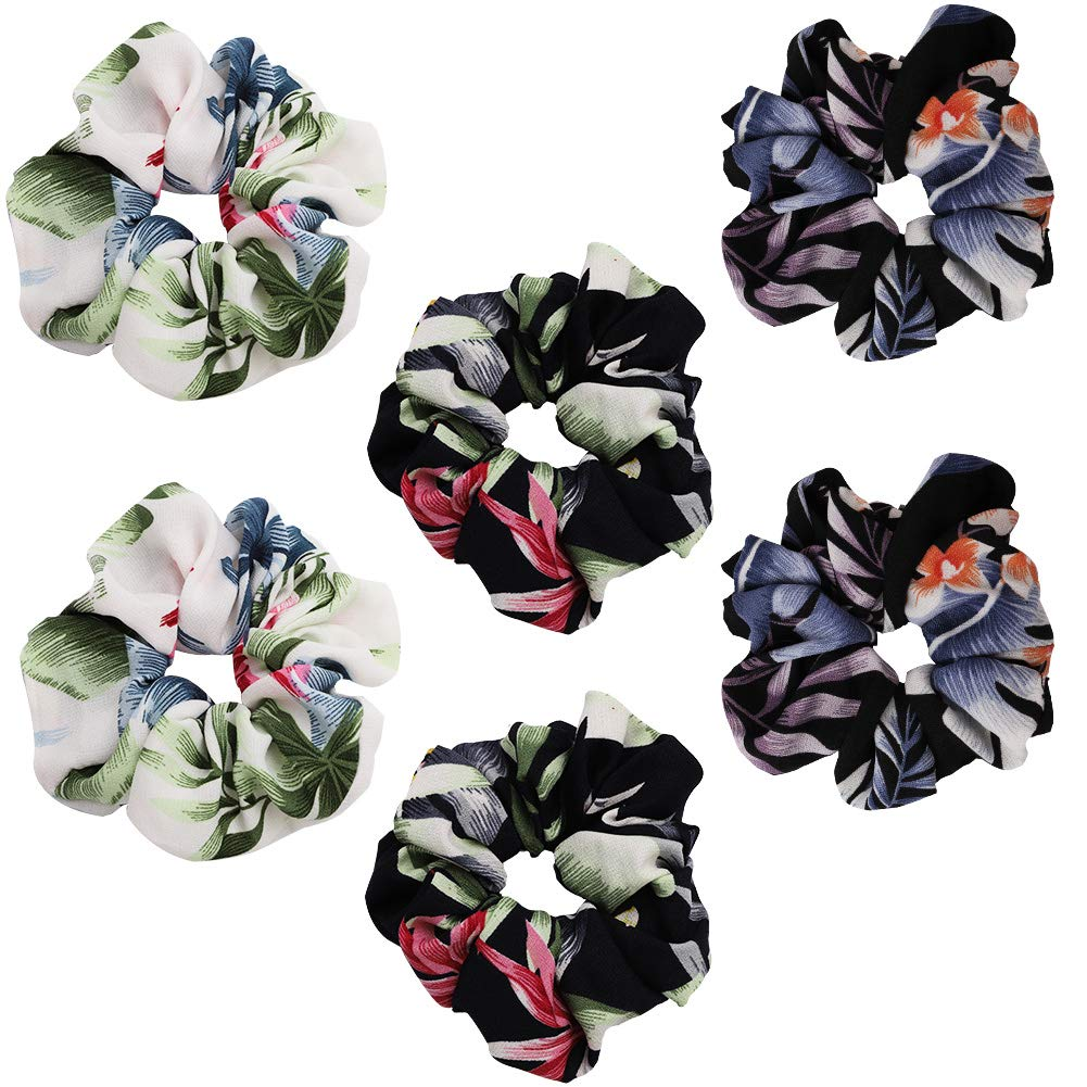 Hair Srunchies,3 Style 6 Pcs Elastic Hair Bands for Girls Women,Flowers Pattern Hair Bow Chiffon Ponytail Holder,Colorful Hair Scrunchy Bobbles Soft Hair Bands Ties Headband Vidillo