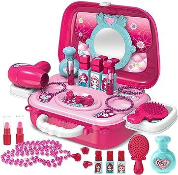 Buyger Maletin Maquillaje Niñas Estuche Belleza Joyería Peluqueria Kit Juguete Accesorios Regalo para Princesa Niñas Infantil 3 4 5 Años: Amazon.es: Juguetes y juegos