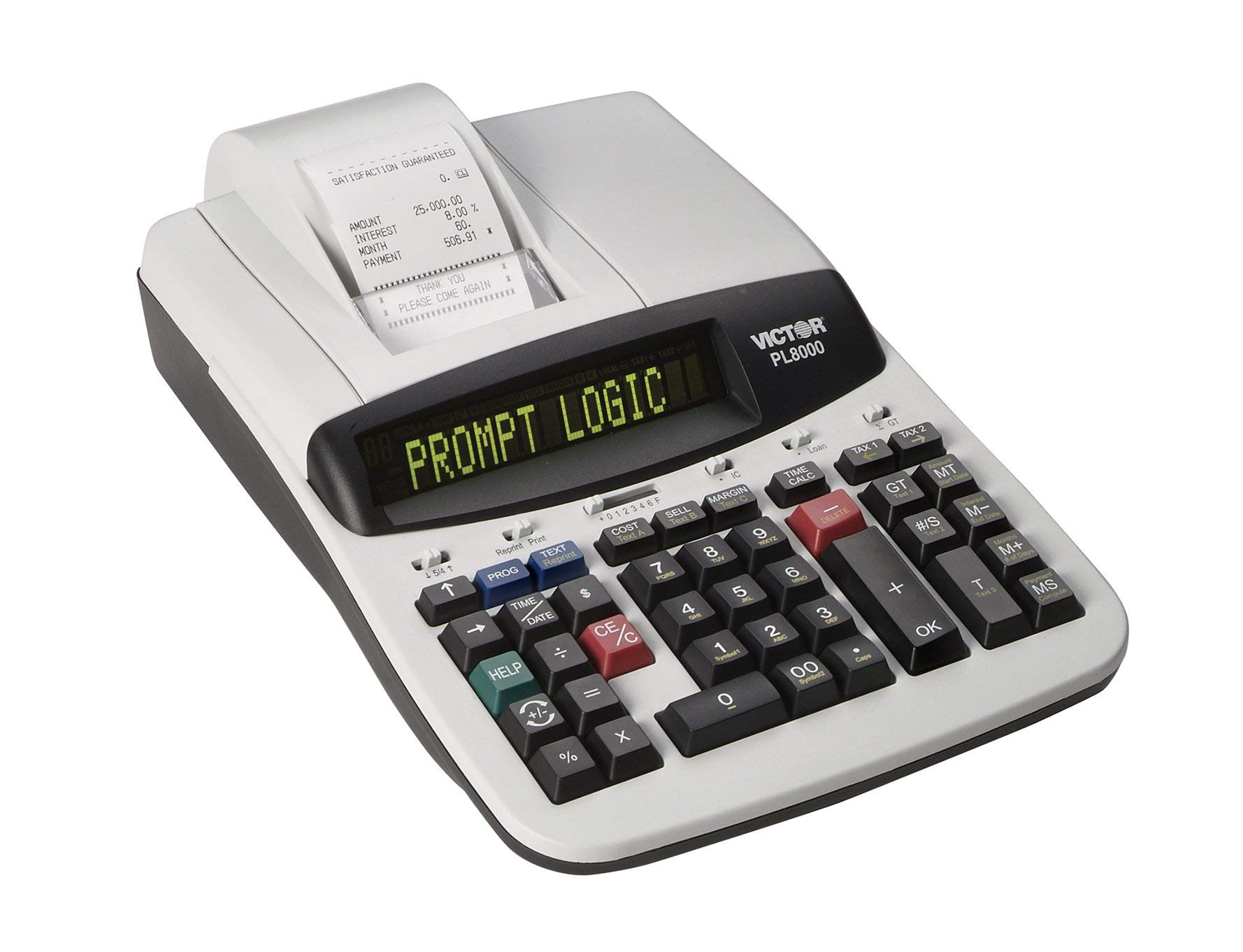 Victor Technology PL8000 Thermal Printing Calculator, Prompt Logic, Help Key, 8.0 Lines Per Second (Renewed) by Victor