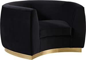 Meridian Furniture Julian Collection Modern | Contemporary Velvet Upholstered Chair with Stainless Steel Base in Rich Gold Finish, Black, 49