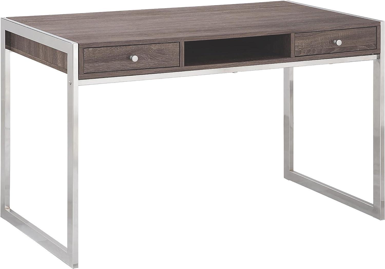Coaster Home Furnishings 2-Drawer Writing Desk Weathered Grey and Chrome