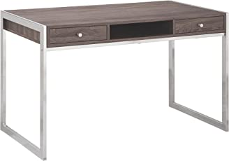 Coaster Fine Furniture 801221 Escritorio para Oficina de Metal/Madera, color Gris Claro/Plata