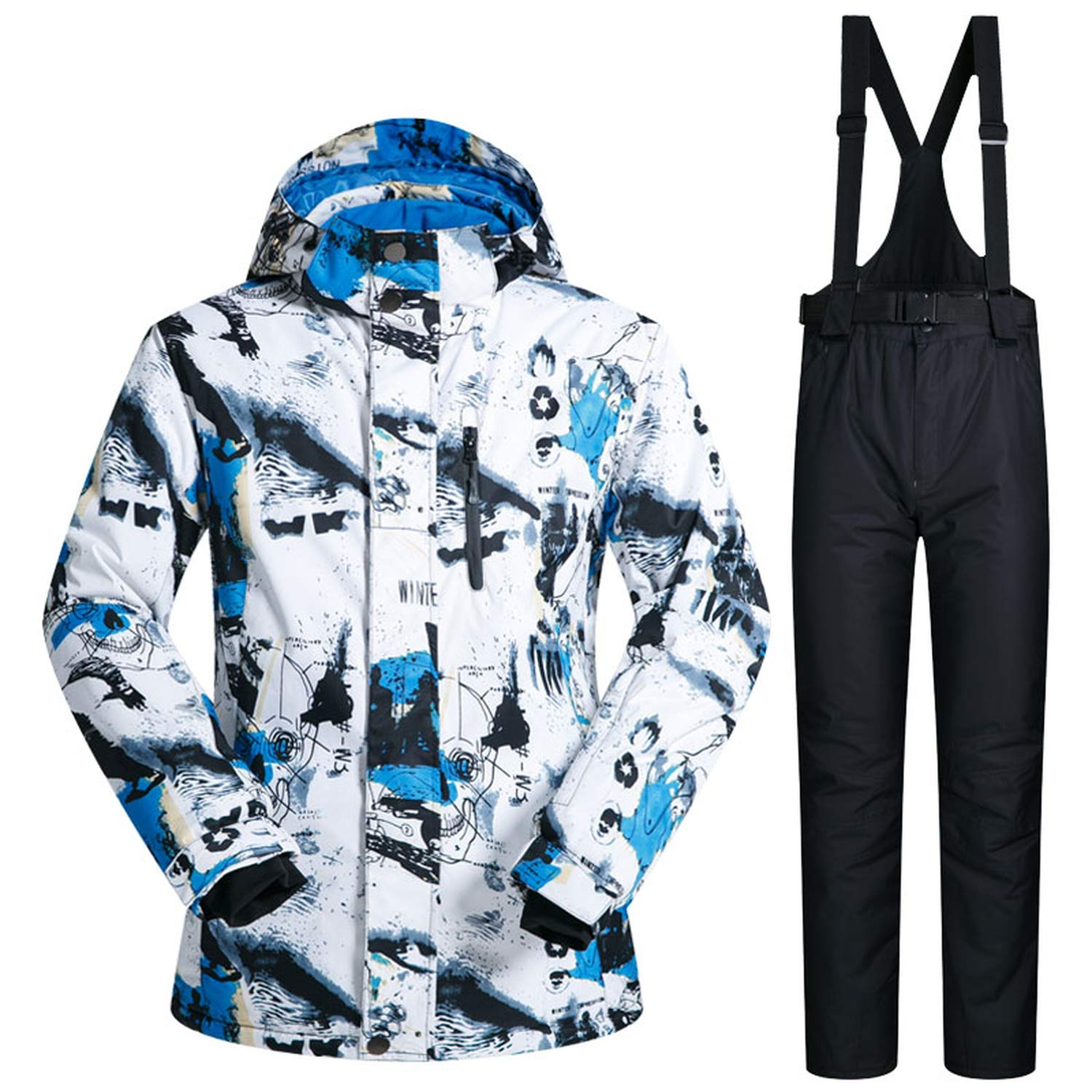 Ski Suit Mens Winter Warm and Windproof Waterproof Outdoor Sports Snow Sports hot Brand ski Equipment ski Jackets and Pants,CLMC and Blue,XXXL
