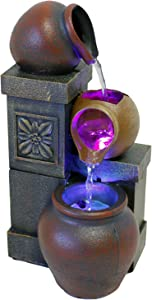 "Nature's Mark 10"" H Rustic Vase Tabletop Fountain with Color Changing LED Lights (No Adapter)"