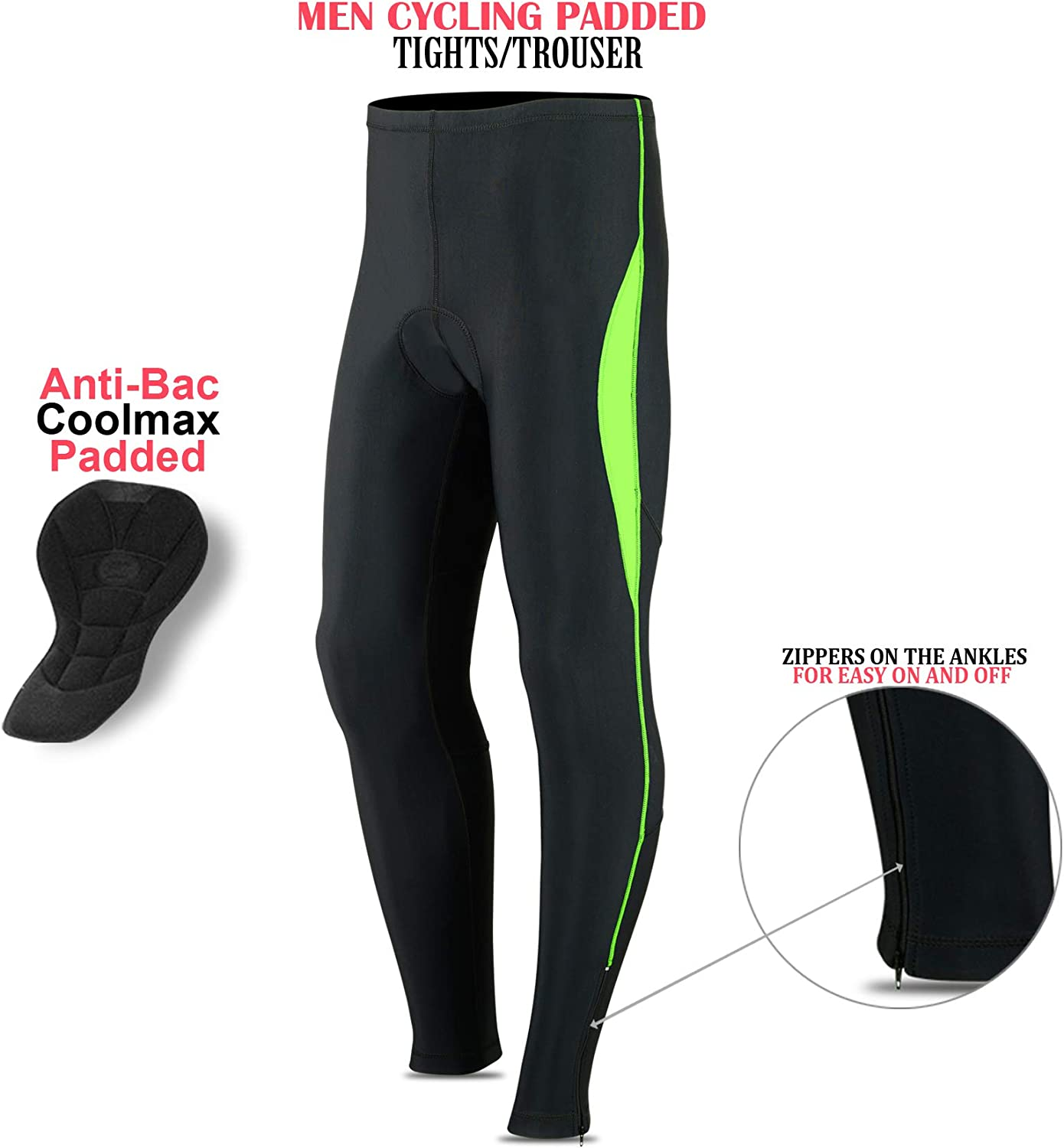 ROXX Men Cycling Tights Trousers Coolmax Padded Bicycle Long Pant Compression