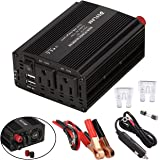 DEFLAM Power Inverter 400W DC 12V to AC 110V Portable Car Converter Adapter 4.8A Dual USB Charging Ports and Dual AC Outlets for Tablets, Laptops and Smartphones