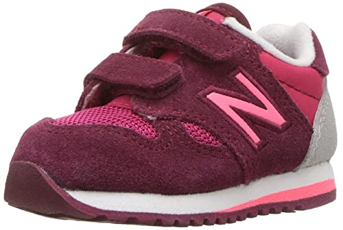 New Balance Girls 520v1 Hook and Loop Sneaker, Pink/Purple, 2 M