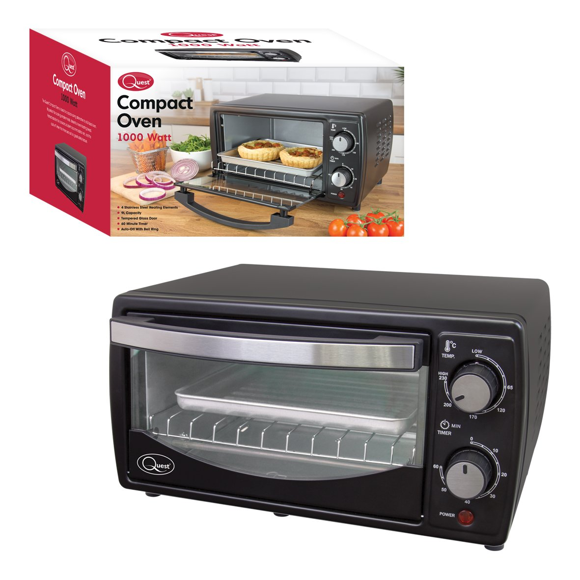 Quest 35400 Mini Oven 9 Litre Black Energy Class A 1000 W 9