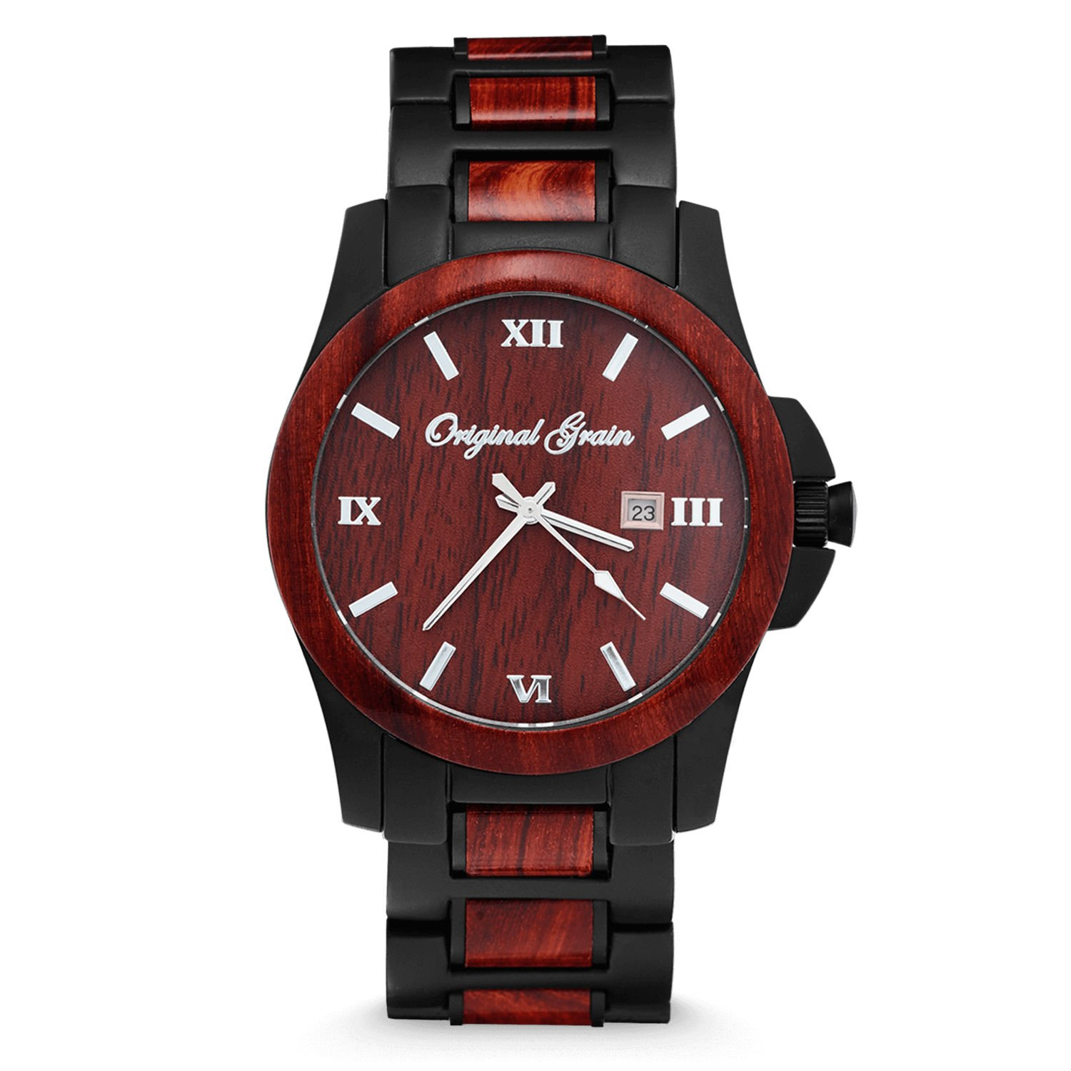 Original Grain Wood Wrist Watch | Classic Collection 43MM Analog Watch | Wood And Matte Black Stainless Steel Watch Band | Japanese Quartz Movement | Rosewood