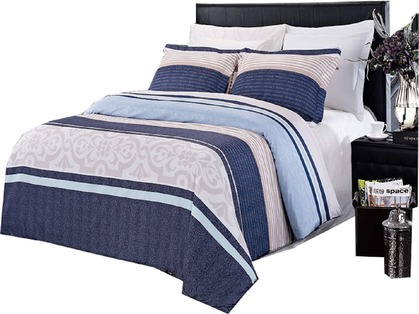 Royal Hotel Park Ave 3 Piece Full Queen Comforter Cover Duvet Cover Set 100 Percent Brushed Microfiber Home Kitchen