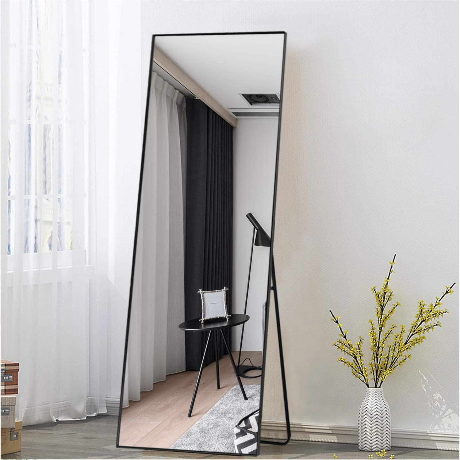 """ONXO Full Length Mirror Large Floor Mirror Standing Without Free Standing Bracket Wall-Mounted Mirror Dressing Mirror Frame Mirror for Living Room//Bedroom//Coating Room 52/""""X16/"""", Black"""