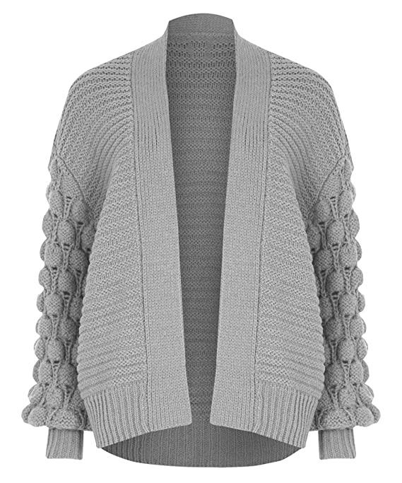 2ba6fb1b89 Rimi Hanger Womens Open Front Bobble Sleeve Knitted Cardigan Ladies  Oversized Baggy Jumper S M L at Amazon Women s Clothing store