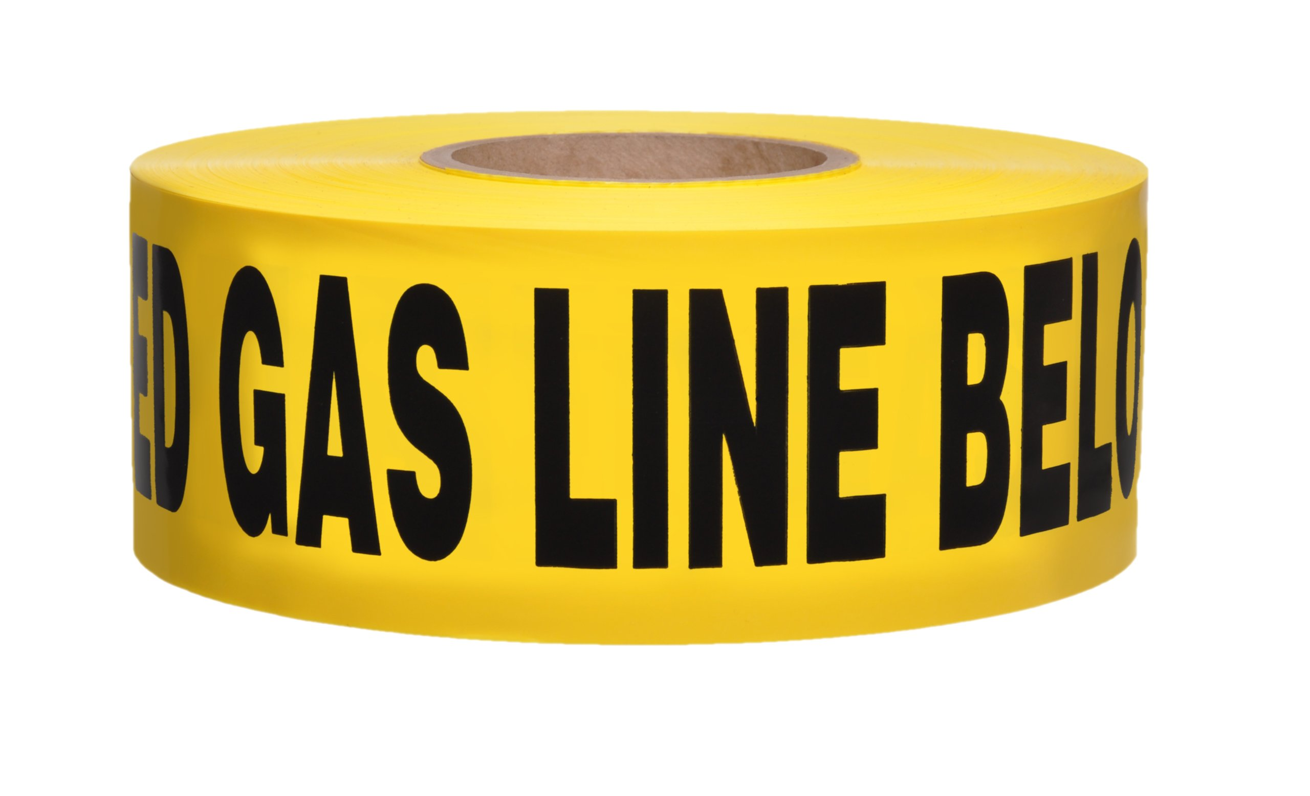 Presco B3104Y5-658 1000' Length x 3'' Width x 4 mil Thick, Polyethylene, Yellow with Black Ink Non-Detectable Underground Warning Tape, Legend ''Caution Buried Gas Line Below'' (Pack of 8)