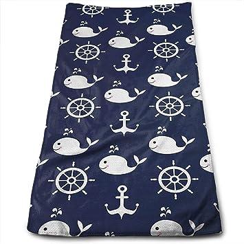 Toallas de Mano de Lujo JTRVW, un Ancla de mar para Ballenas de algodón Suave