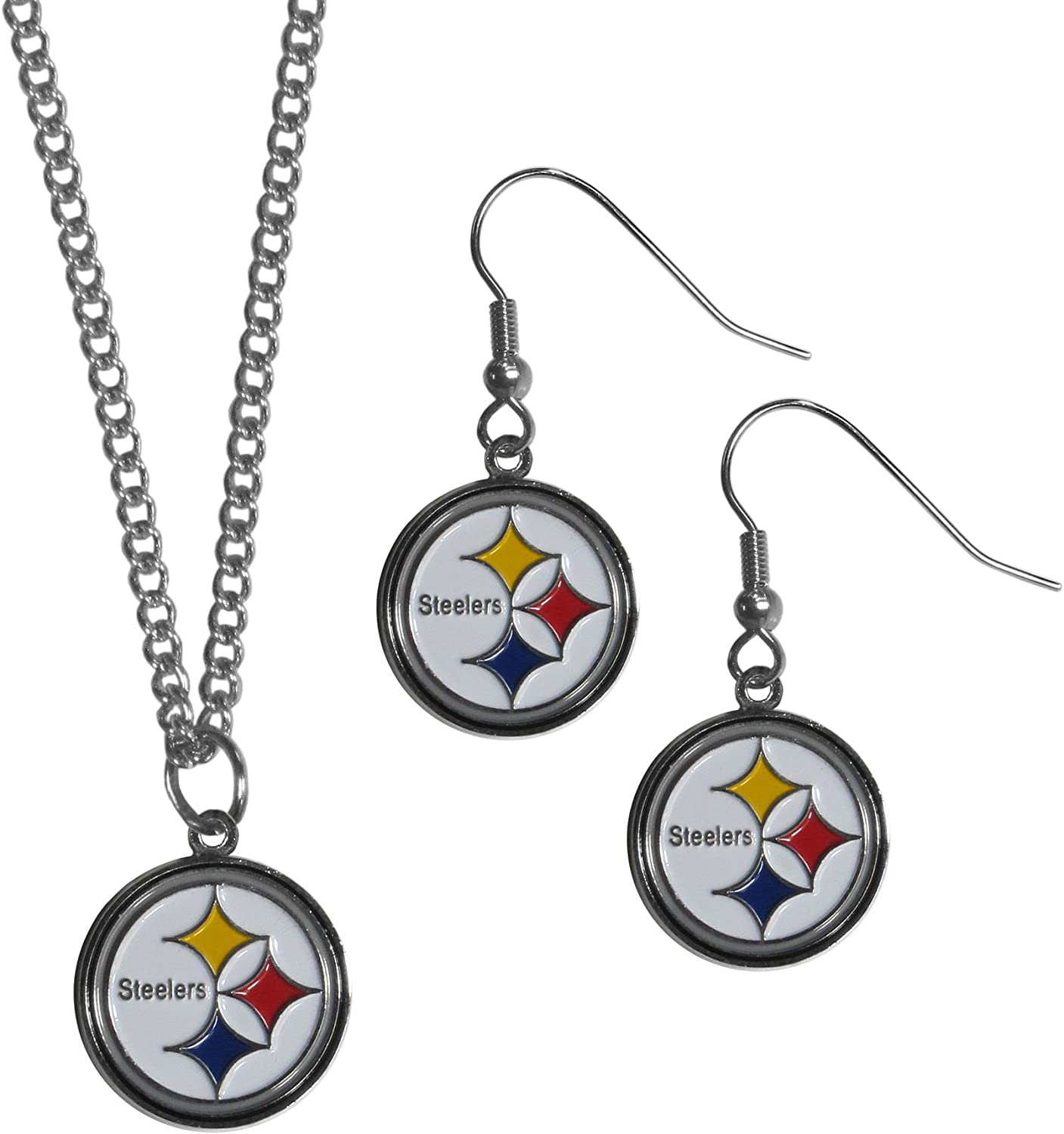 Red NFL San Francisco 49ers Dangle Earrings /& Chain Necklace Set